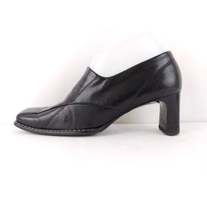 Paul Green Black Square Toe Heeled Loafer Bootie